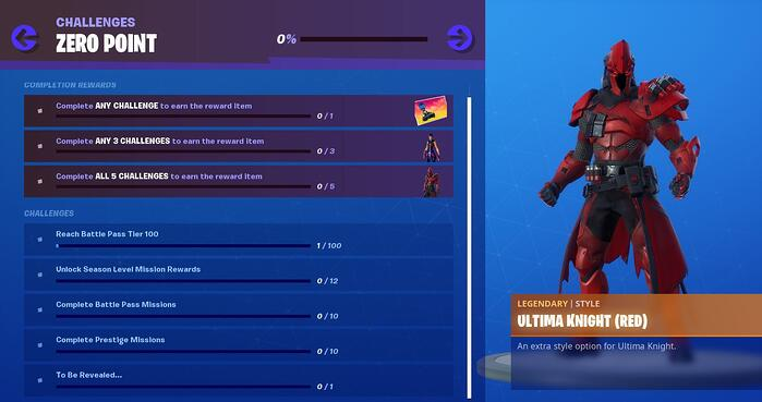 fortnite season x zero point challenges