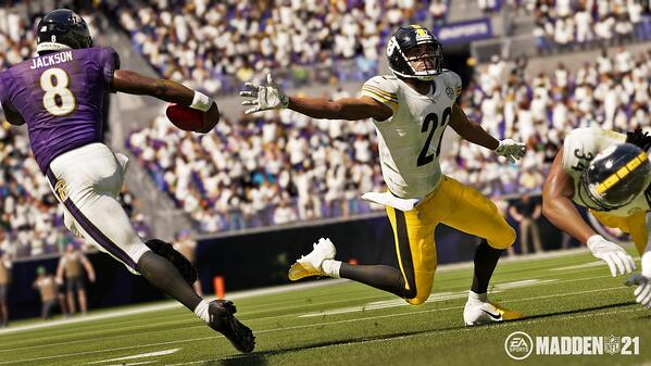 Baltimore Ravens QB Lamar Jackson is juking in Madden 21.