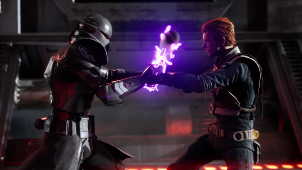 cal kestis is fighting a purge trooper in star wars jedi fallen order