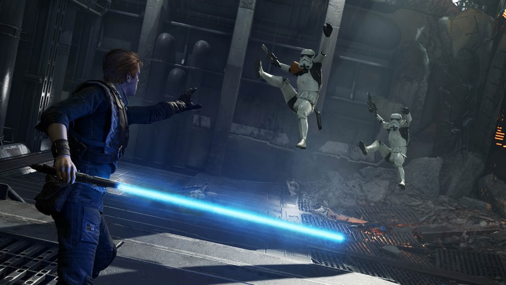 cal kestis fighting stormtroopers in star wars jedi fallen order