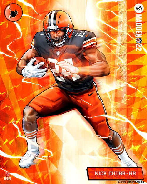 Cleveland Browns halfback Nick Chubb in Madden 22