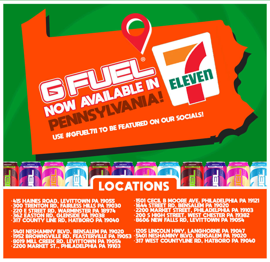 7-Eleven stores in Pennsylvania that sell G FUEL as of February 12, 2020