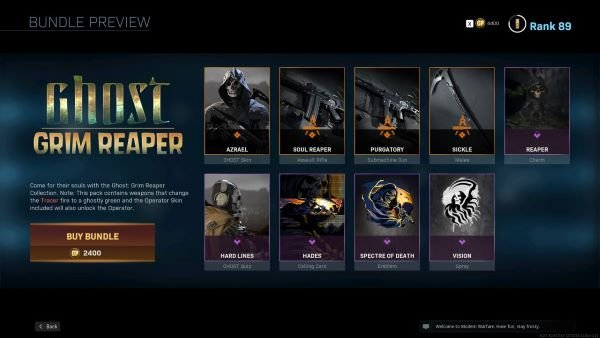 Ghost Grim Reaper bundle in Call of Duty Warzone includes the Ghost Azrael skin.