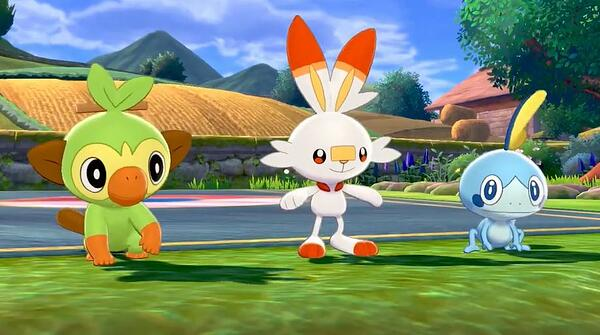 grookey, scorbunny, and sobble starter pokemon from pokemon sword and shield