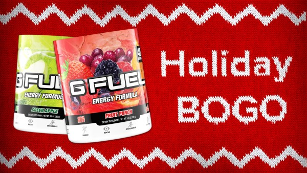 holiday bogo sweater g fuel green apple fruit punch tubs