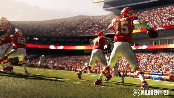 Kansas City Chiefs QB Patrick Mahomes in Madden 21.