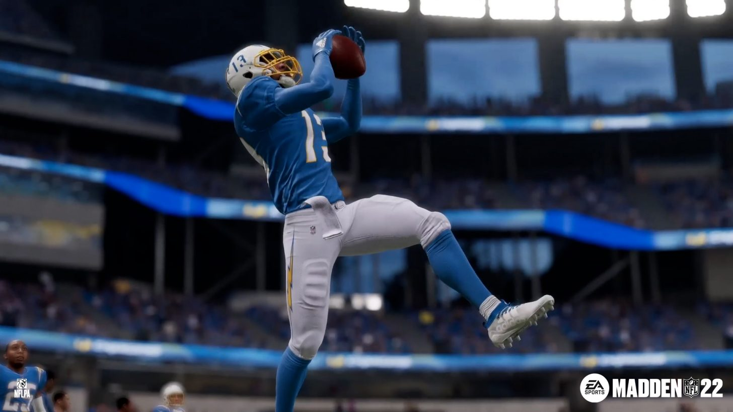 Los Angeles Chargers wide receiver Keenan Allen catches the football in Madden 22