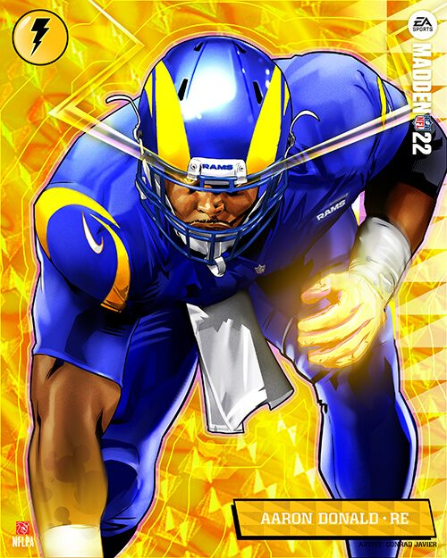 Los Angeles Rams right end Aaron Donald in Madden 22