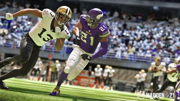 New Orleans Saints WR Michael Thomas and Minnesota Vikings CB Mike Hughes in Madden 21.