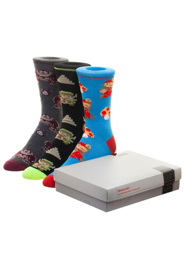 nintendo game console 3-pack crew socks featuring link, donkey kong, and mario