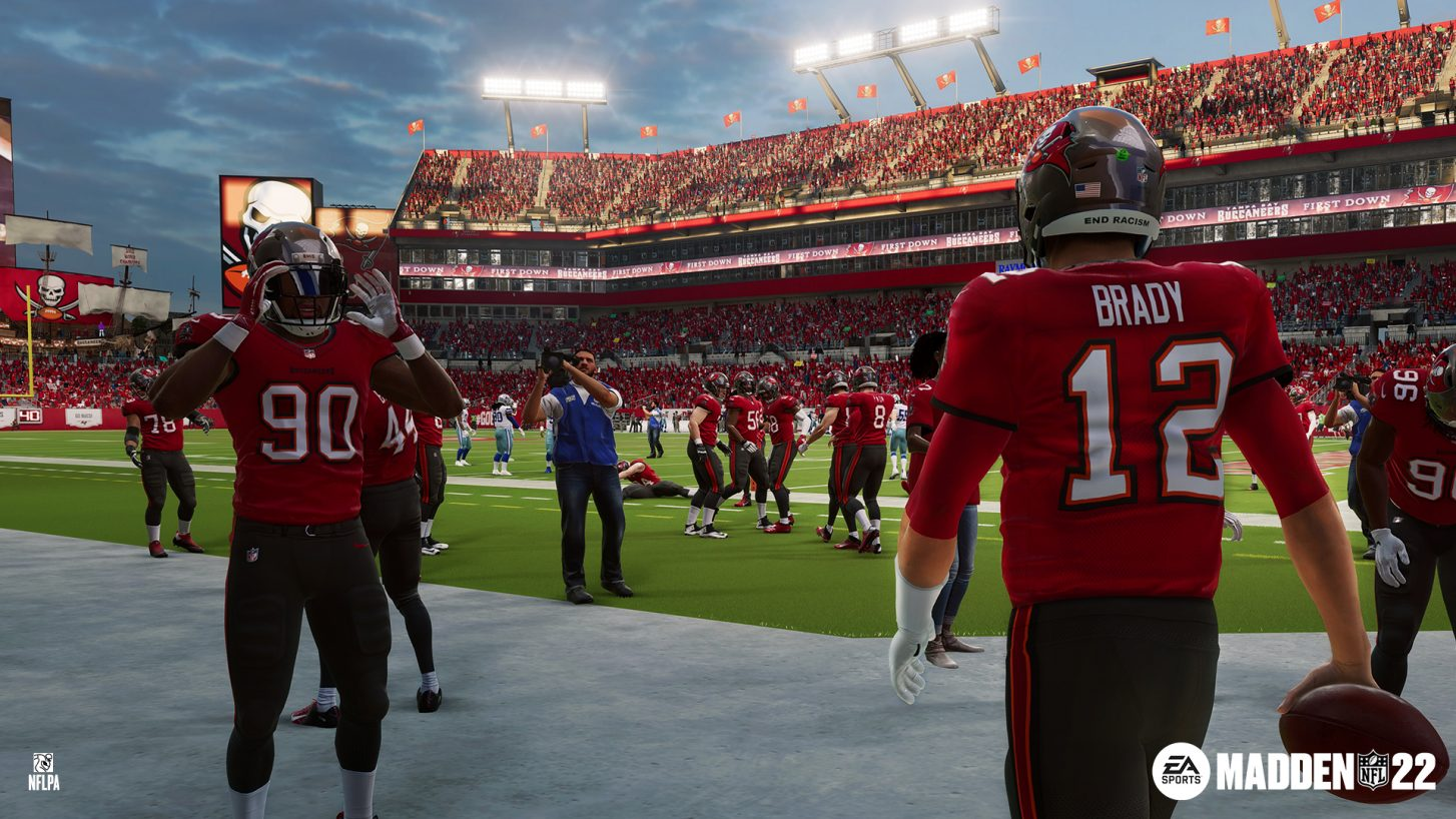 Tampa Bay Buccaneers outside linebacker Jason Andrew Pierre-Paul and quarterback Tom Brady in Madden 22