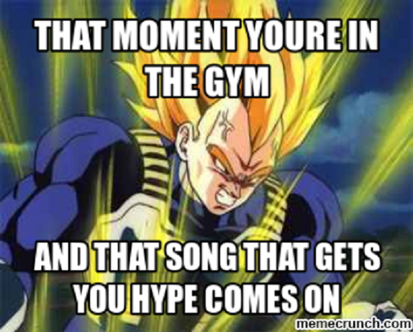 "A Vegeta gym Dragon Ball Z meme that says ""That moment you're in the gym and that song that gets you hype comes on."""