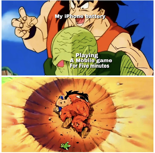 Yamcha iPhone battery Dragon Ball Z meme