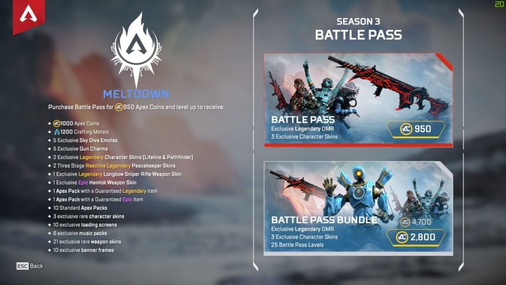 Apex Legends Season 3 Battle Pass costs 950 Apex Coins (to unlock the Legendary DMR weapon skin and 3 exclusive character skins) or 2,800 Apex Coins (to unlock the same skins and 25 extra Battle Pass levels).