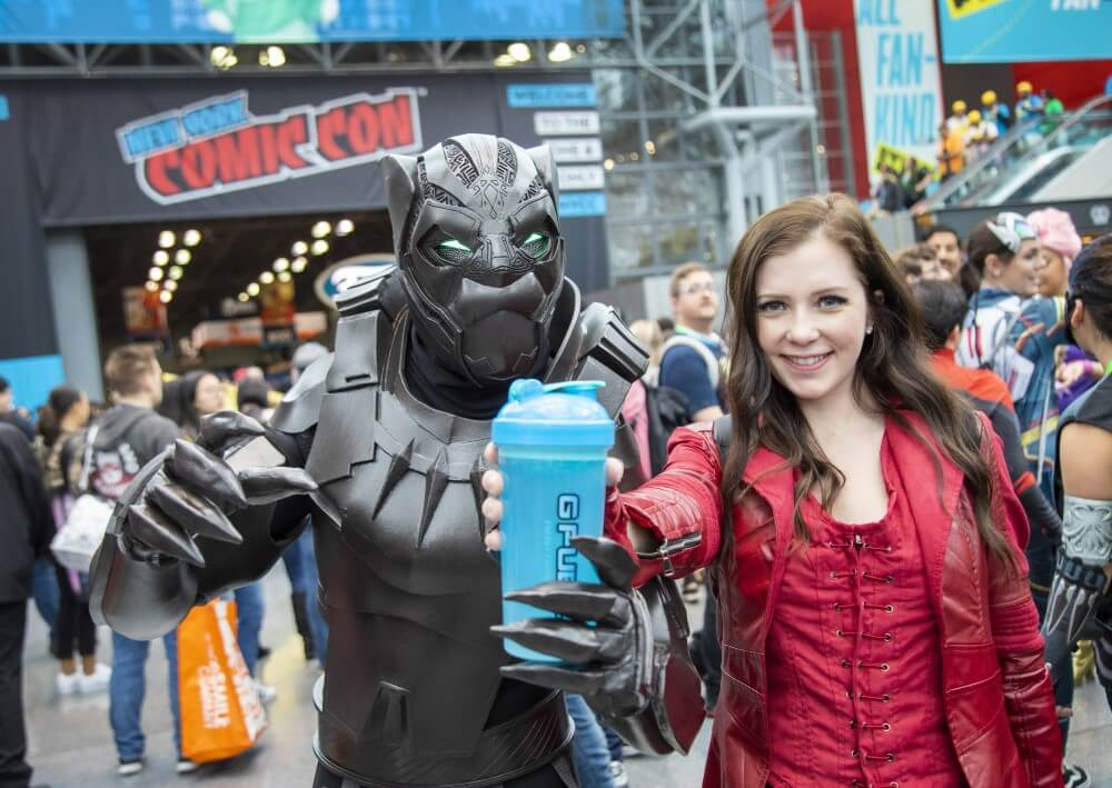 black panther and scarlet witch cosplays at new york comic con 2019