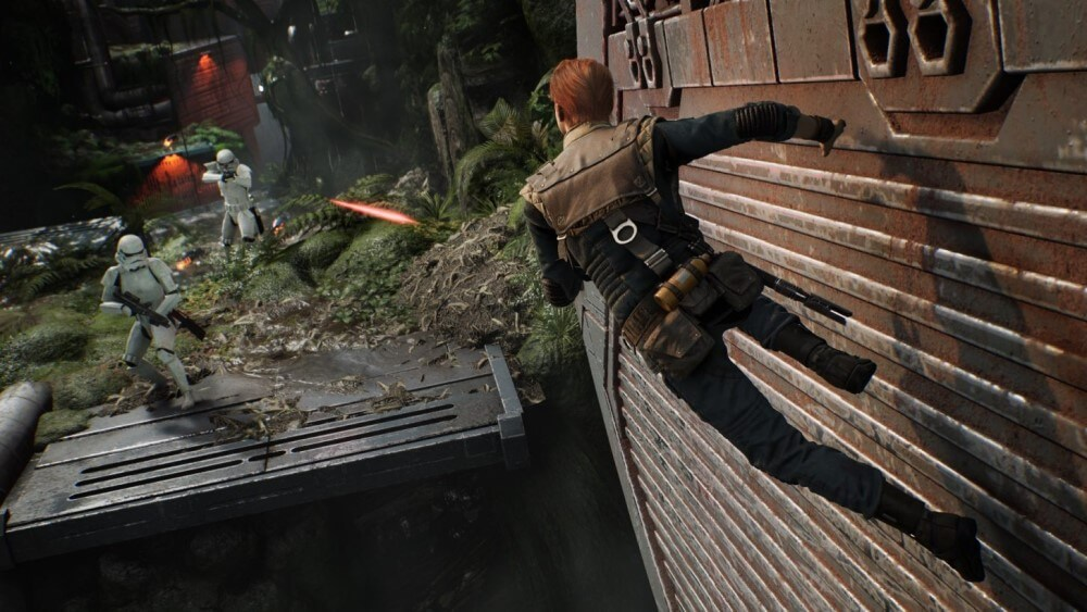cal kestis running on the wall in star wars jedi fallen order