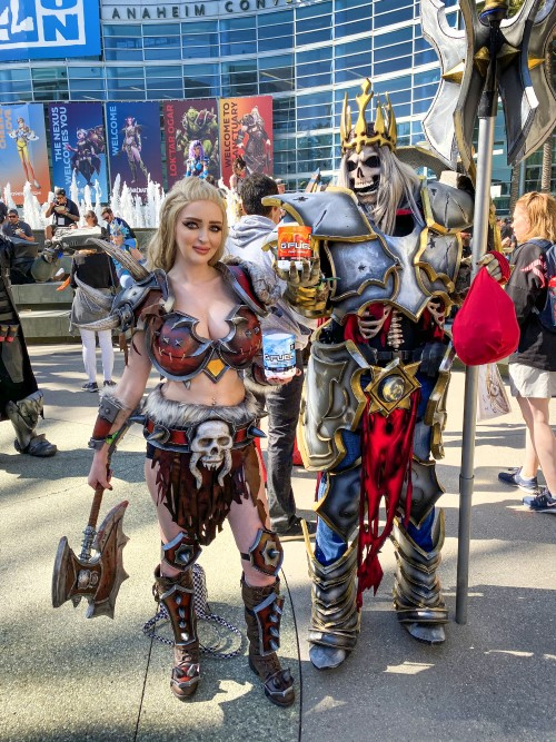 female barbarian and skeleton king from diablo