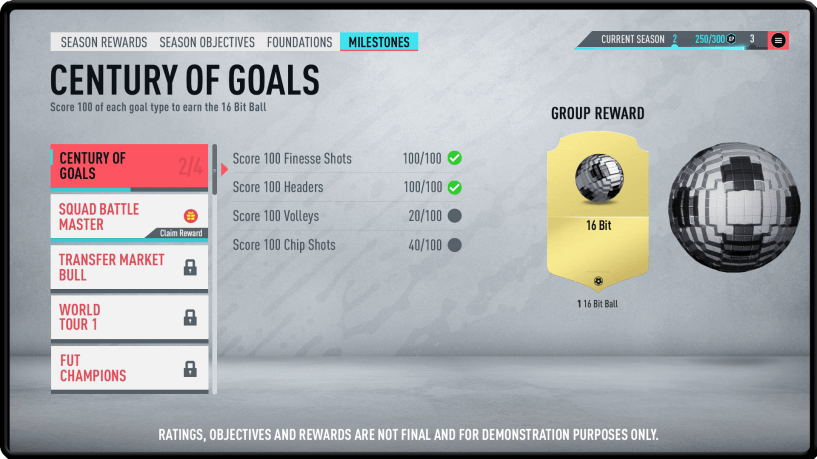 fifa 20 milestone objectives