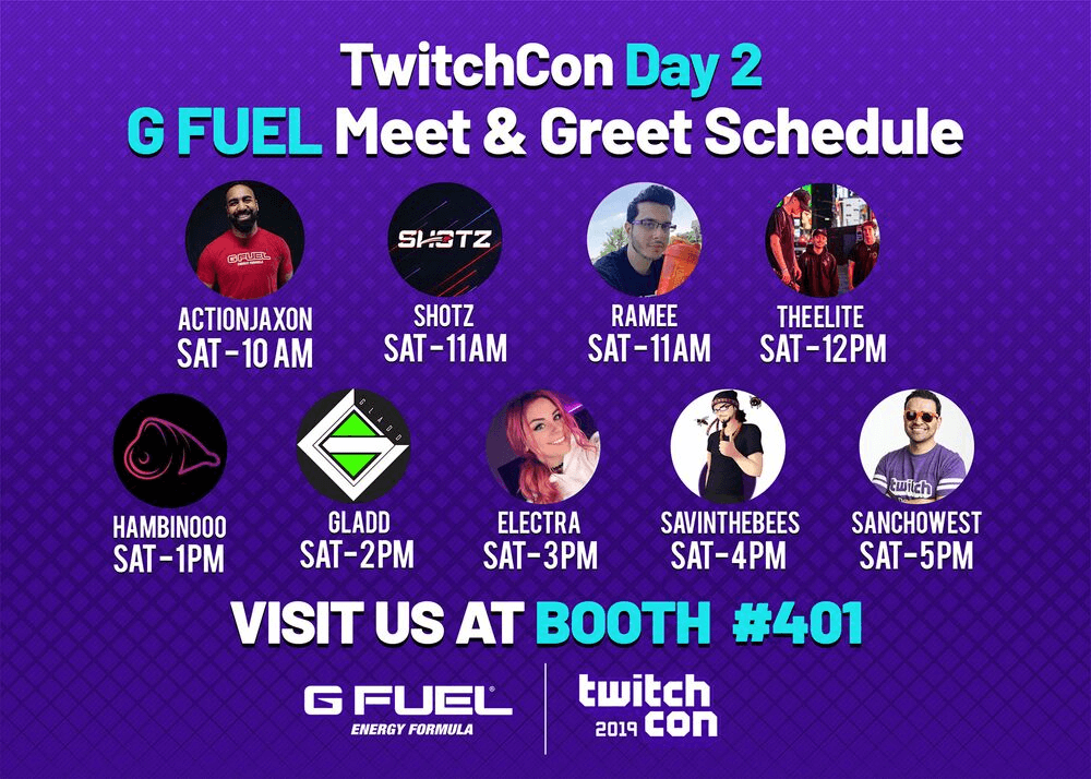 g fuel twitchcon san diego 2019 day 2 meet greet schedule includes actionjaxon, shotz, ramee, theelite, hambinooo, gladd, electra, savinthebees, and sanchowest.
