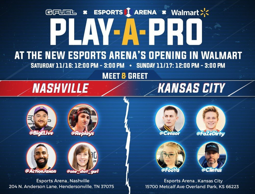 G FUEL is sponsoring gaming events at the grand openings of Walmart Esports Arena Nashville and Kansas City on Nov 16 and 17, 2019.