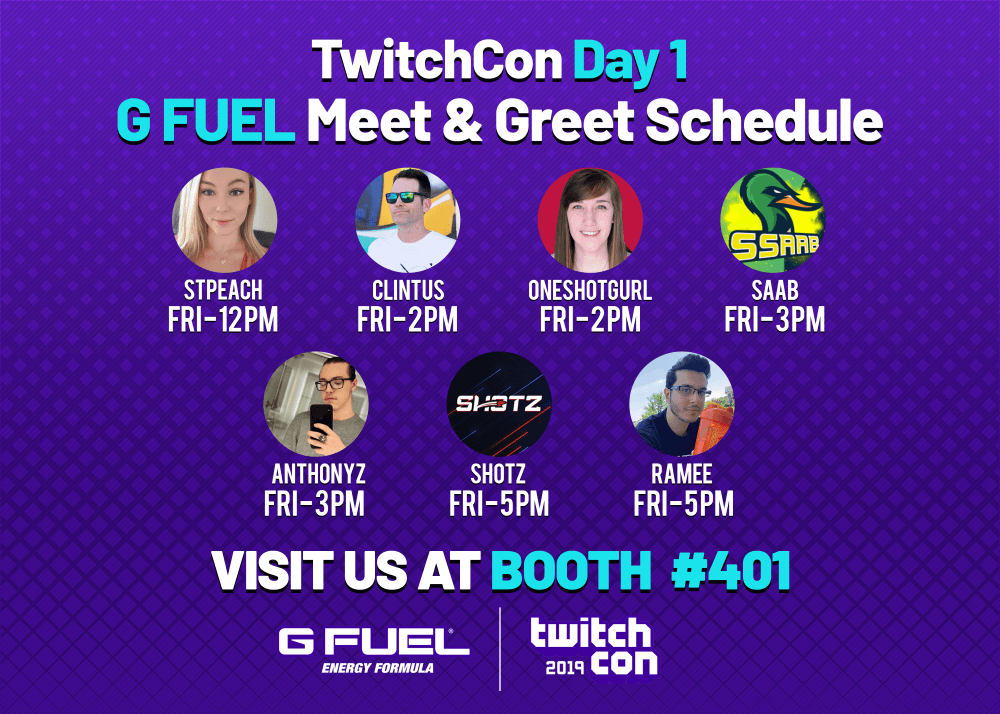 G FUEL TwitchCon San Diego 2019 Day 1 meet and greet schedule