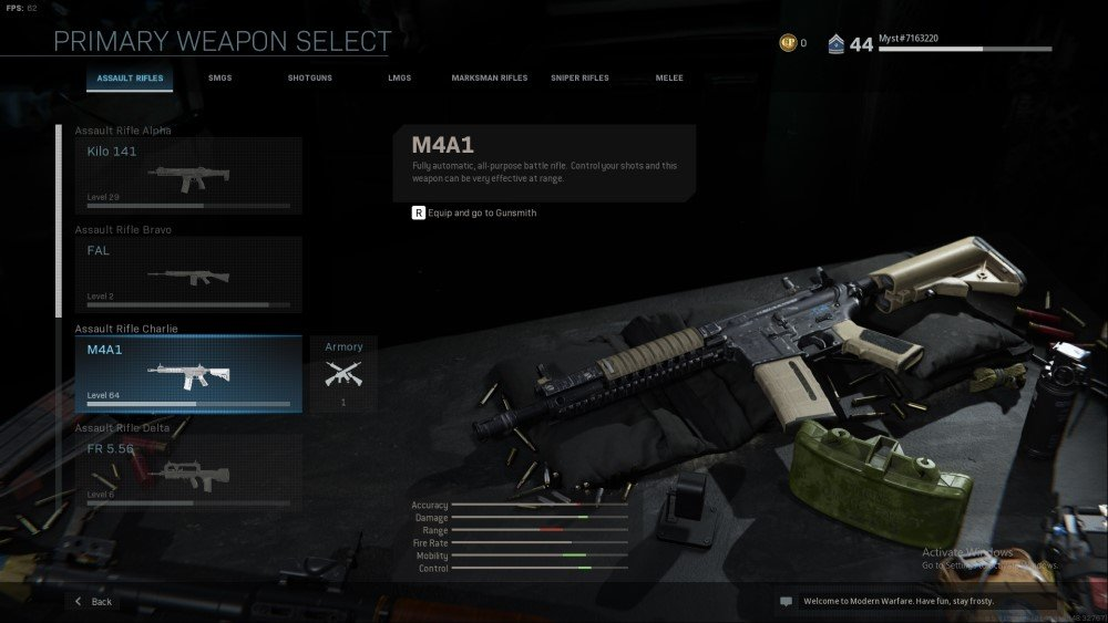 m4a1 assault rifle from call of duty modern warfare