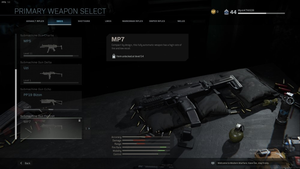 mp7 submachine gun from call of duty modern warfare
