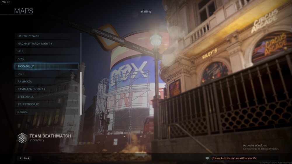 piccadilly map in call of duty modern warfare