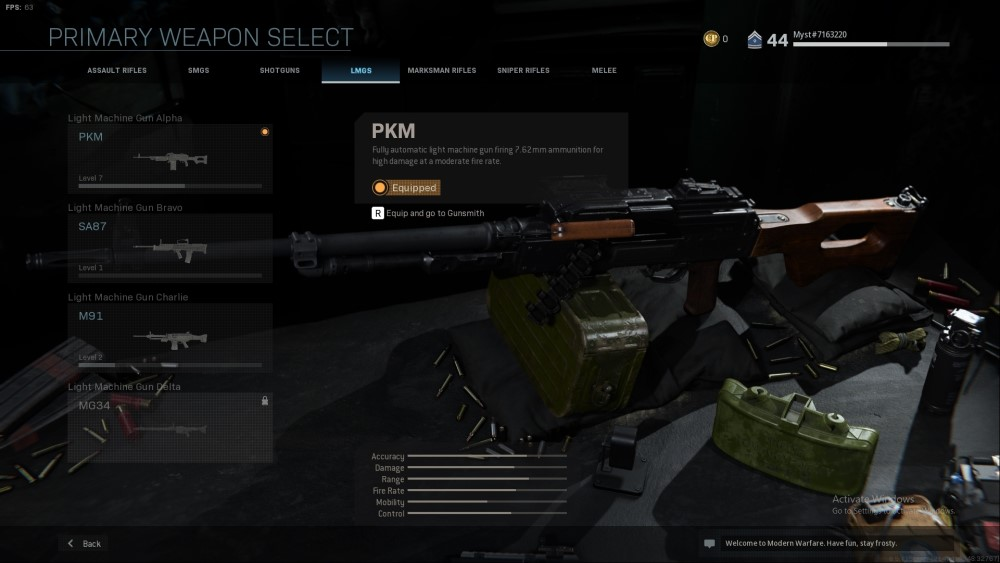 pkm light machine gun from call of duty modern warfare
