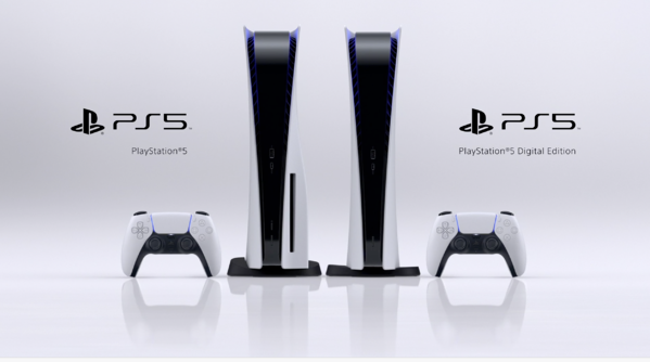 PS5, PS5 Digital Edition, and 2 DualSense controllers.
