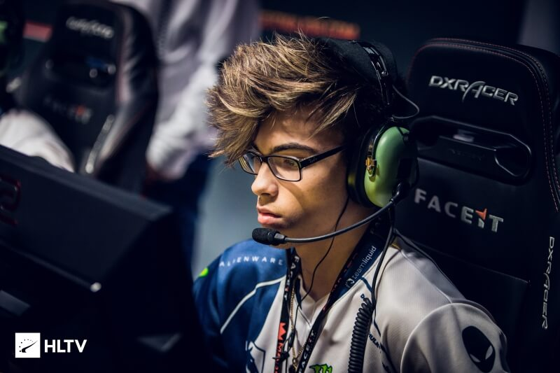 "Russel ""Twistzz"" Van Dulken on Team Liquid is gaming on a DXRacer chair."